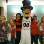 Rachel Clites, Grace Hindes, Jessica Shivetts, Cristina Perrotta, Mary Wattick, and Emily Saporetti -- with THE DUKE!