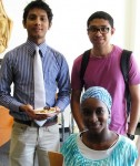 On Thursday, September 19, in the Gumberg Library Popular Reading Area, Duquesne International Students, Md Rezwanul Badhan (Bangladesh), Abdullah Alghadheeb (Saudi Arabia), and Aminata Soko (Mauritania), discuss their customs and culture.