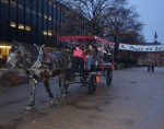 Attendees take a free carriage ride down Academic Walk.