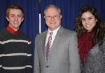 Student speakers, Paul Smith, Jenna Pelly and Dr.Charles Dougherty, University President.