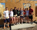 (L-R) Attila Mihalik, Elana Famularo, Mary Ames, Michelle Stiller, Skyler DeWitt, Catherine Connolly, Caitlin Reilly, and Aaron Thomas helping at Habitat for Humanity.