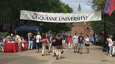 Students on Academic Walk for Duquesne Fest