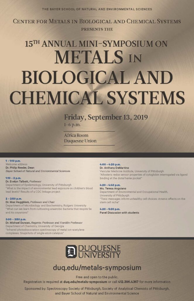 15th Annual Mini-Symposium on Metals in Biological and Chemical Systems