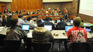 A photo of a Duquesne University Lecture Classroom full of students